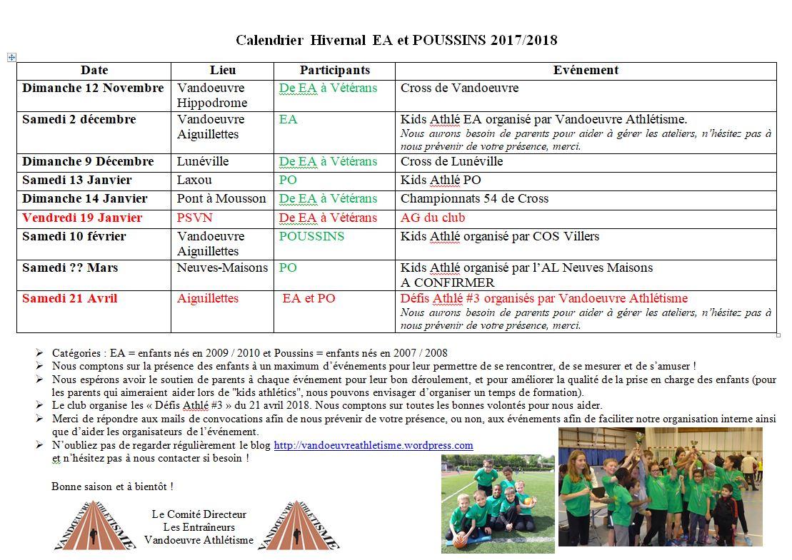 Calendrier Ea.Calendrier Hivernal Ea Po 20172018 Vandoeuvre Athletisme